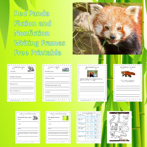 Red-Panda-writing-frames-fiction-nonfiction freebie