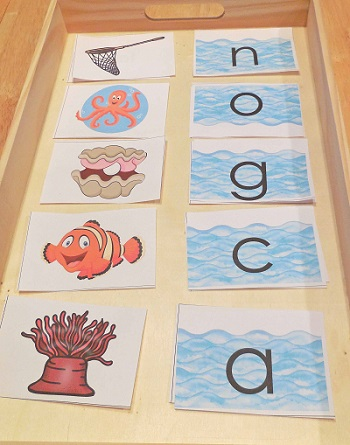 sea creatures picture and lower case letter matching -- free printable