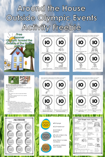 Outside the House Olympic Events Activity -- free printable to help engage the children in exercise this summer