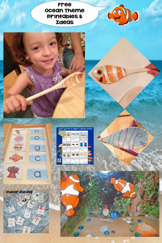 Ocean Theme Learning and Activities with alphabet activities, craft idea, printables, fry words 1a and 1b, sea turtle cards, dolphin writing, free PDFs