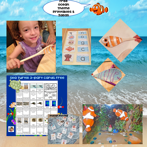 Ocean Theme Learning Printables, Activities, and Craft Idea