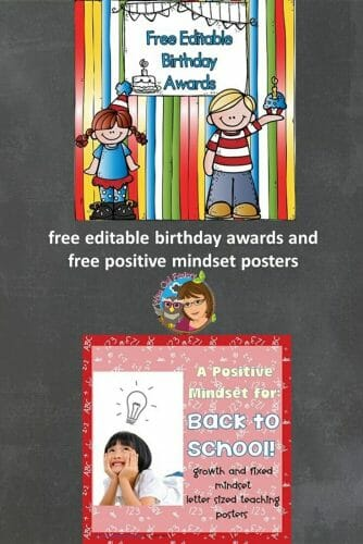 Welcome Back to School Free Birthday Awards and Mindset Posters -- editable birthday awards for your class, free mindset posters for a positive year.