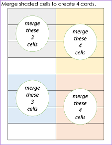 merge cells to form 2 sets of 2 cards