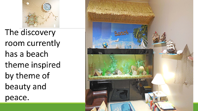aquarium display and beach theme for peace and learning