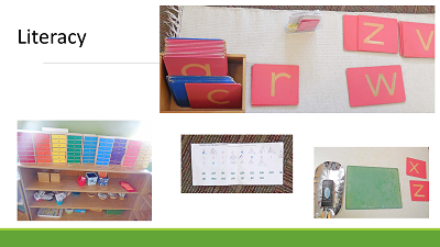 sandpaper letters, phonics work, reading resources, and writing