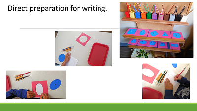 metal inset trays offer direct preparation for handwriting that engages the child