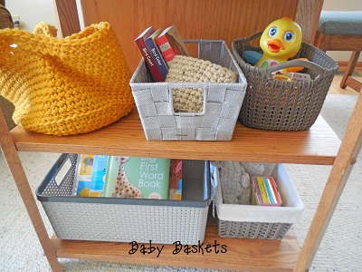 baby baskets on shelf ready play and reading