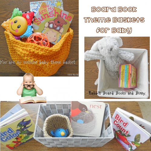 Baby Theme Baskets with Board Books and Toys at Wise Owl Factory