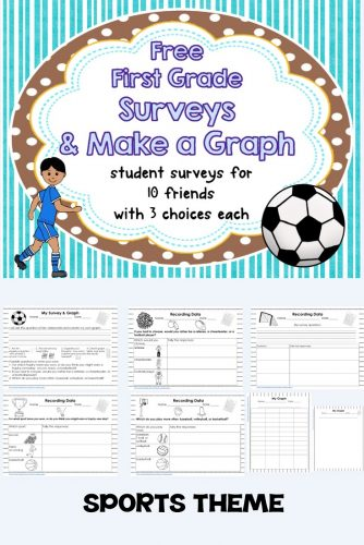 First Grade Surveys and Make My Own Graph, Sports Theme -- CCSS Math Content 1 MDC 4, free