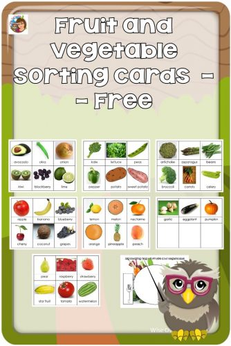 Fruit and Vegetable Sorting Cards --The cards may be used for simple sorting. Ask questions like what colors do you notice? Free