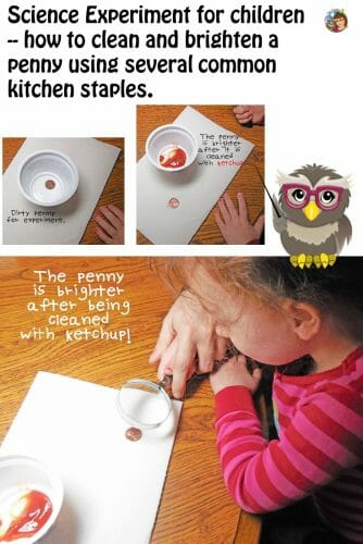 Penny Cleaning Science Experiment Using Kitchen Staples --penny cleaning which is a fun science experiment for children to try, free work page.