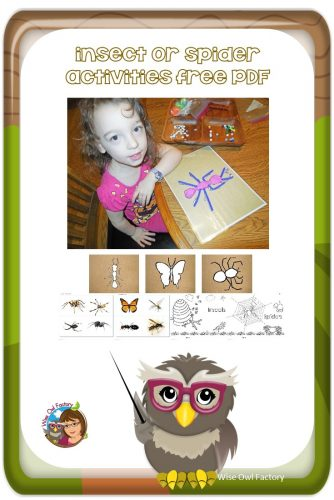 Insect or Spider Play Dough Mats and Free PDF -- This post has free activities such as play dough mats, sorting photos, and coloring pages.