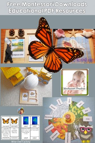 Montessori Instant Resource Downloads -- round up of links to the free Montessori instant resource downloads on this site