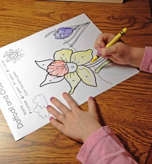 coloring by letter on the coloring page