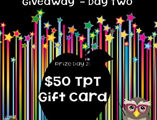 Day 2 Blogiversary Giveaway TpT Card