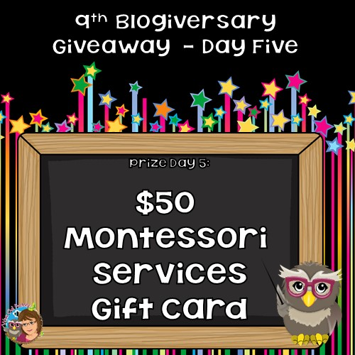 Blogiversary $50 Montessori Services Card