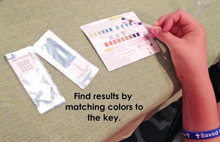 match test strips to color coded key