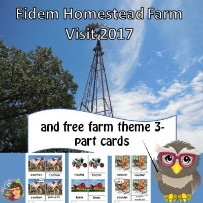 free farm words 3-part cards printable