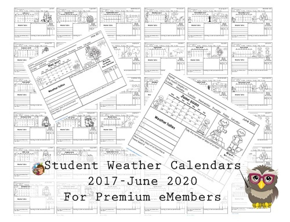 Weather Calendars thru June 2020 for Students