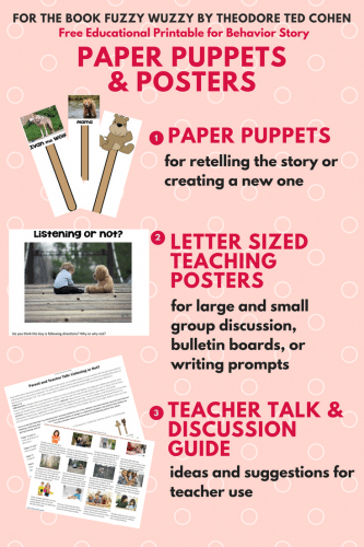 Fuzzy Wuzzy Posters and Paper Puppets Free PDF to help children learn it is for their own safety that they need to listen to and follow rules