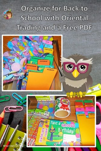 Oriental Trading Helps Organize Back to School -- birthday bags, Consitution Day, welcome back, free printable for teachers