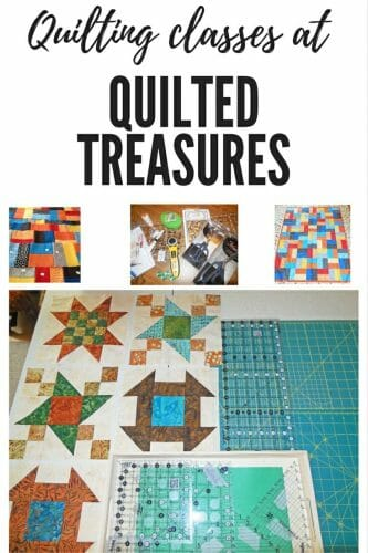 This post is about my quilting classes at Quilted Treasures in Rogers, Minnesota. I took On the Double, the 3 ways to bind, and Traditional Sampler.