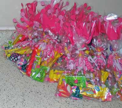 treat bags ready to be taken home at the end of the party