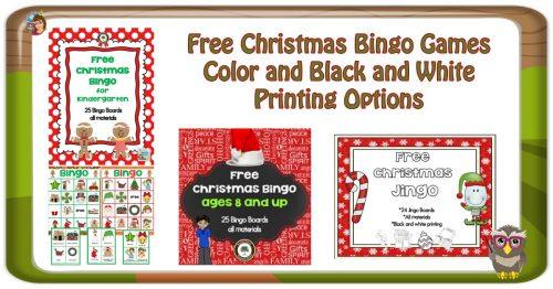 Free Christmas Printables and Class Bingo Games