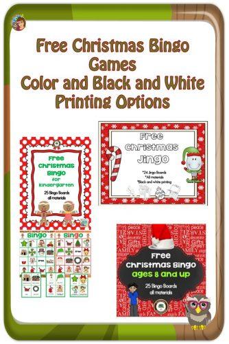 Christmas Printables and Class Bingo Games Free PDFs -- free classroom and group Christmas several bingo games PDF printable