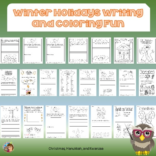 Winter Holiday Writing Frames and Coloring Fun • Wise Owl Factory