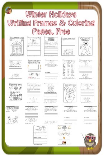 Winter Holiday Writing Frames and Coloring fun pages to help children learn about Christmas, Christmas around the world, Hanukkah, Kwanzaa, freebie