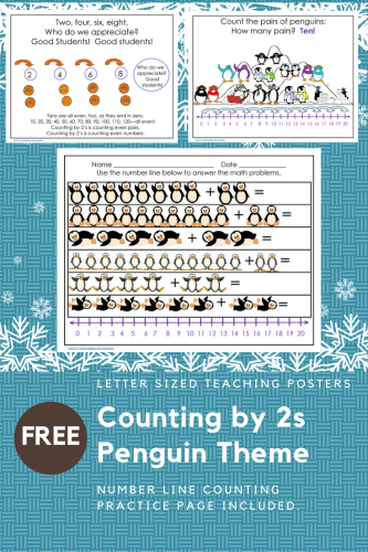 Counting by 2's with Penguins Free Math PDF -- This post has a free printable about counting by 2's with penguins. There is a student practice page included. penguins.