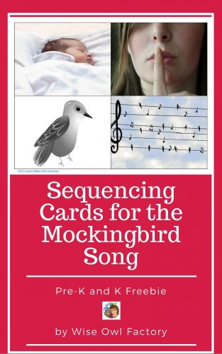Sequencing Cards for the Mockingbird Song Freebie -- use these cards to allow students to recall the sequence or to retell the song