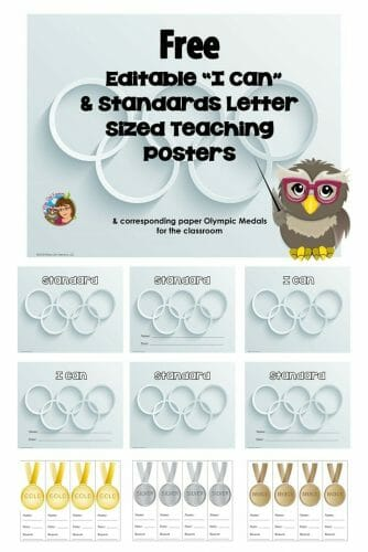 Editable Olympic Theme Letter Size Standards Posters Freebie for teacher use to create their own