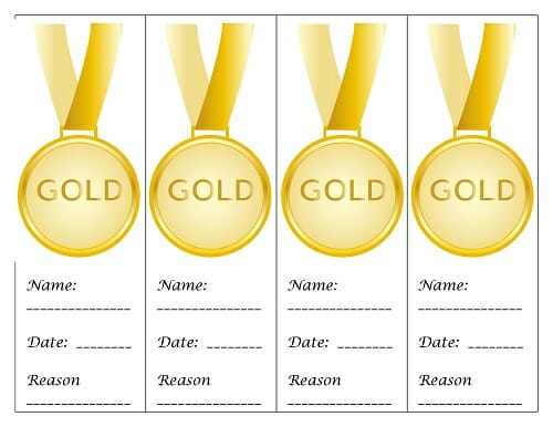 paper printable medals for students