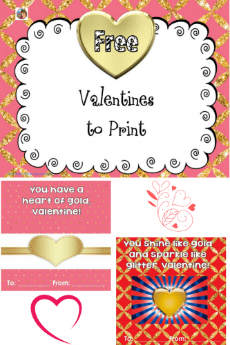 Valentines Printable Gold Theme Free PDF -- this post has 8 Valentines to print and give (no folding or envelopes required) Instant download at the blog post.