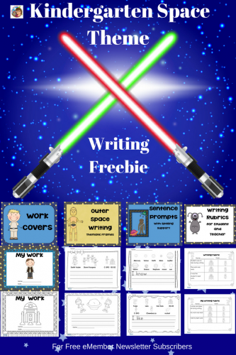 Space Theme Writing Frames Kindergarten Freebie #Writing This post has a free printable PDF for kindergarten writing with a space theme. It is available in our free eMembers area. Subscribe to the newsletter for the password.
