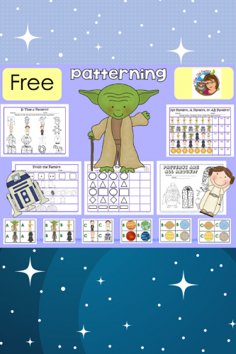 Free Patterns Printable with a Space Theme---patterns with A, B, C, pocket chart patterning cards, fun work pages, answer keys #DisneySMMC