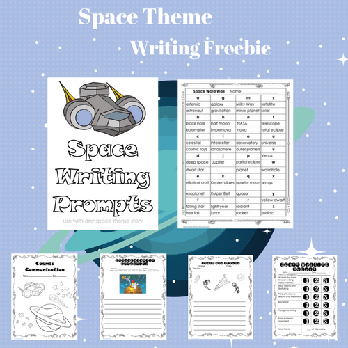 Space Theme Writing Prompts, Word Wall, and Rubric