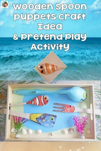 Ocean Theme Wooden Spoon Craft and Pretend Play #DisneySMMC This post shares a DIY craft idea, tray