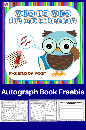 Year-End My Class Who's Who Autograph Booklet Free -- this post has examples of pages in the printable as well as ideas about how to use it the last day.