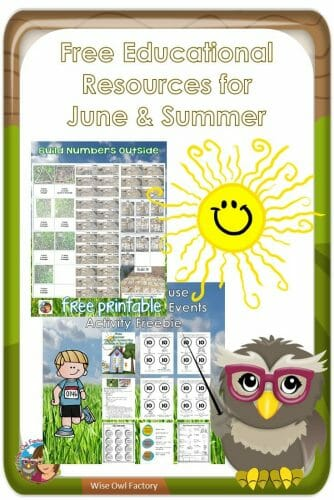 June free educational resources for Pre-K and elementary -- free summer printables for home and school