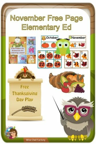 November educational downloads and resources for the primary classroom, teachers, and homeschools -- free resources and PDFs.