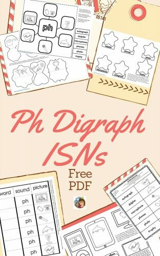 Ph Digraph Interactive Student Notebook Freebie -- black and white student printable pages for phonics and literacy activities.