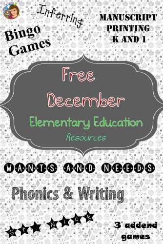 December FREEBIES---classroom printable December theme bingo games, math, and activities for the elementary classroom or homeschool.