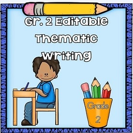 Editable Grade 2 Writing through the School Year and Free Sample