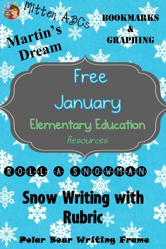 January Free Resources for Primary Teachers with writing frames, graphing, bookmarks, and Roll-a-Snowman activities, and mitten ABCs.
