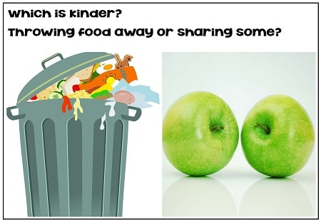 which is kinder throwing food away or sharing