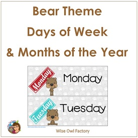 Bear Theme Days of Weeks and Months of Year