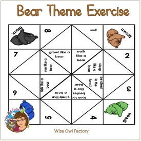 Bear Theme Exercises and Blank Chatterbox Foldables
